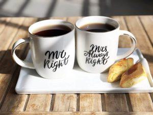 Mr Right und Mr Always Right Kaffeegeschenk für Kaffeesüchtige